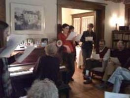 Faculty dinner, autumn 2009. Ilse plays the piano and tries to teach the linguistics faculty to sing
