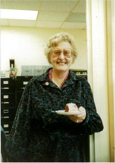 Ilse is standing outside her office in Cunz Hall; 1985