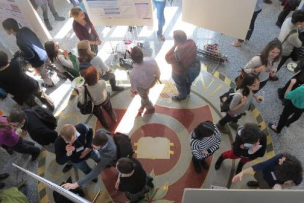 Top view of poster session in Mershon lobby