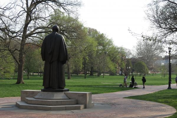 The Oval with statue in foreground