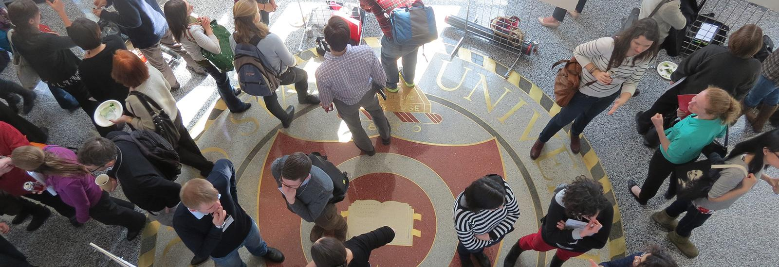 Overhead shot of students in an atrium